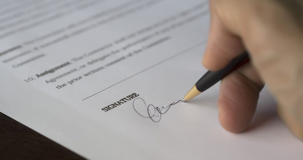 a form being signed