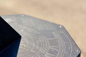 Image of sun dial in front of Burke Science Building at McMaster